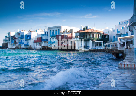 Morning view of Little Venice in Mykonos Town, Greece - Stock Photo