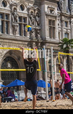 Paris, France, Young French People Playing on City Beach, 'Paris Plages', Beach Volleyball, - Stock Photo
