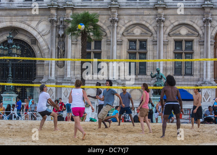 Paris, France, Young French People Playing City Beach, 'Paris Plages', Beach Volleyball, River Seine plage - Stock Photo