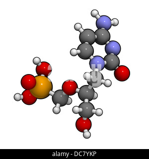 Cidofovir cytomegalovirus (CMV, HCMV) drug, chemical structure. Can probably also be used against smallpox infection. - Stock Photo