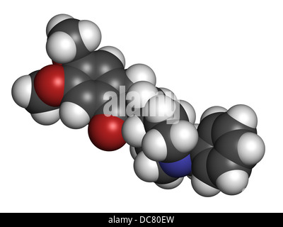Donepezil Alzheimer's disease drug, chemical structure. Atoms are represented as spheres with conventional color - Stock Photo