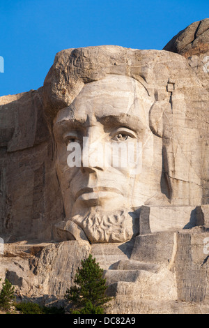 Close up view of the head portrait sculpture of Abe Abraham Lincoln at Mt Mount Rushmore National Memorial Monument - Stock Photo