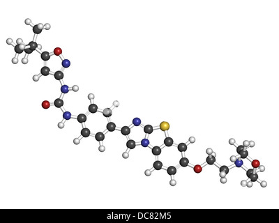 Quizartinib investigational acute myeloid leukemia (AML) drug, chemical structure Atoms are represented as spheres. - Stock Photo