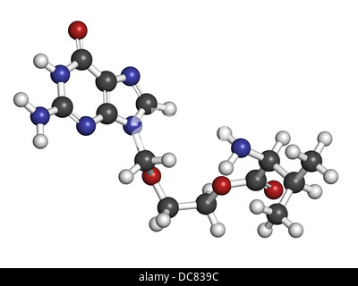 Valaciclovir (valacyclovir) herpes infection drug, chemical structure. Atoms are represented as spheres with conventional - Stock Photo