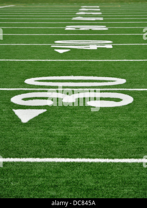 Yardline on American Football field - Stock Photo