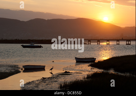 White bridge on Knysna lagoon at sunset, Knysna waterfront, Knysna, Western Cape, South Africa