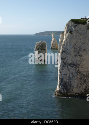 View along the cliffs from Old Harry Rocks - Dorset coast - Stock Photo