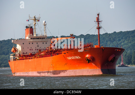 Chemical tanker vessel / ship on the river at La Mailleraye-sur-Seine, Seine-Maritime department, Haute-Normandie - Stock Photo