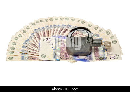 Money and padlock safety concept clipping path included - Stock Photo