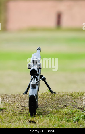 A Remington 700 bolt-action sniper rifle on a shooting range - Stock Photo