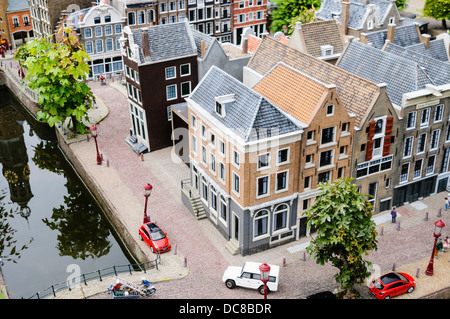 Looking down on roofs of houses in Amsterdam, at Madurodam Interactive Miniture Park, Netherlands - Stock Photo