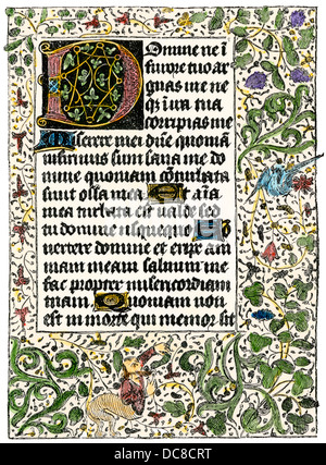 Illuminated manuscript page from a Book of Hours, 1350 AD. Hand-colored woodcut reproduction - Stock Photo