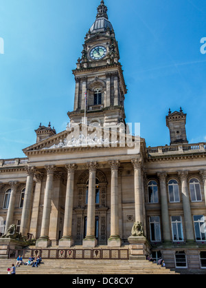 Bolton Town Hall showing clock tower - Stock Photo