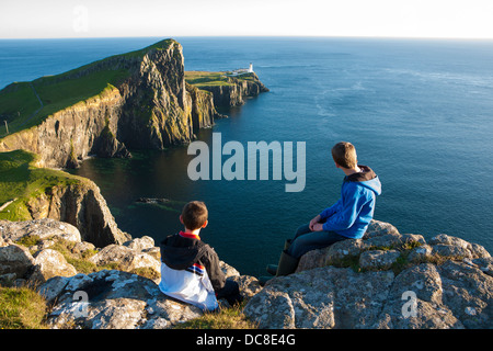 Neist Point lighthouse, spectacular headland which is the most westerly point on the Isle of  Skye, Scotland UK - Stock Photo