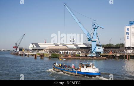 Shipping  cranes Port of Rotterdam - NWS Nieuwe Waterwag Silo Schiedam, Netherlands - Stock Photo