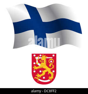 finland wavy flag and coat of arms against white background, vector art illustration, image contains transparency - Stock Photo