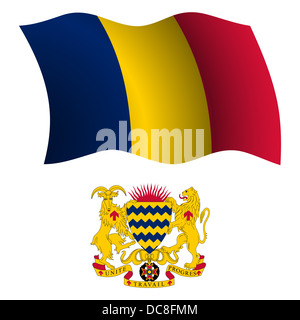 chad wavy flag and coat of arms against white background, vector art illustration, image contains transparency - Stock Photo