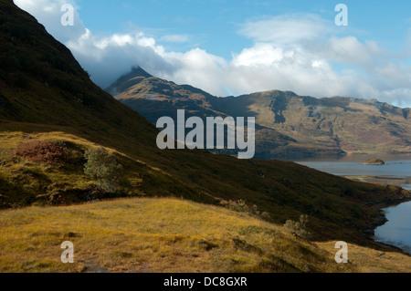 Ladhar Bheinn (960m) the highest peak in Knoydart, Highland region, Scotland, UK.  From the coastal path to Barrisdale - Stock Photo