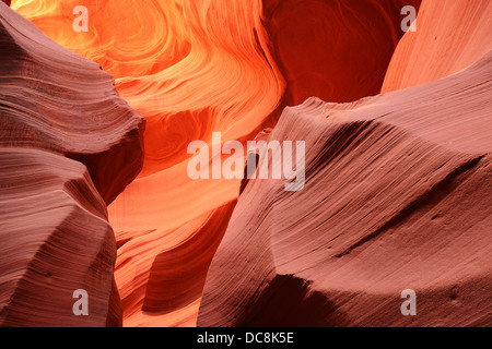 Beautiful abstract natural patterns of Lower Antelope Canyon, a famous Slot Canyon near Page, Arizona, USA - Stock Photo