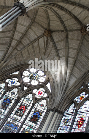 The Chapter House in the East Cloisters, Westminster Abbey, London, UK - Stock Photo