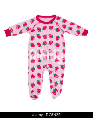 Clothing for newborns with strawberry pattern. Isolate on white. - Stock Photo