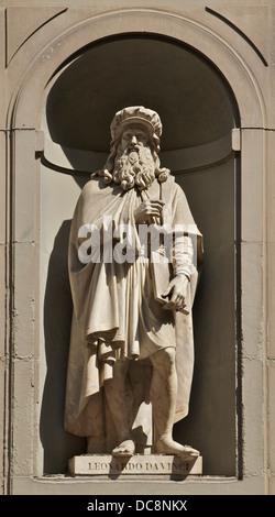 Statue of Leonardo da Vinci signed by Luigi Pampaloni, Serie of the 'Great Florentines', Piazzale degli Uffizi, - Stock Photo