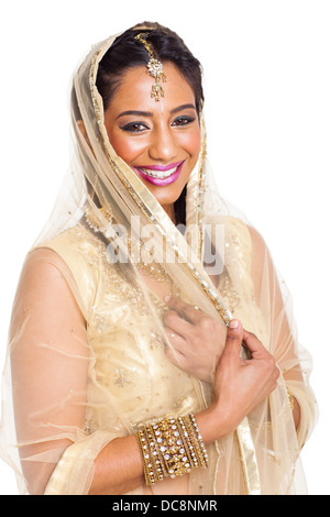 beautiful young Indian woman in sari on white background - Stock Photo