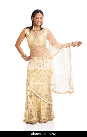 beautiful Indian lady posing in saree isolated on white background - Stock Photo