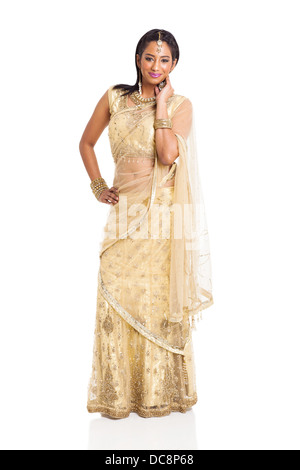 smiling Indian woman in saree costume isolated on white - Stock Photo