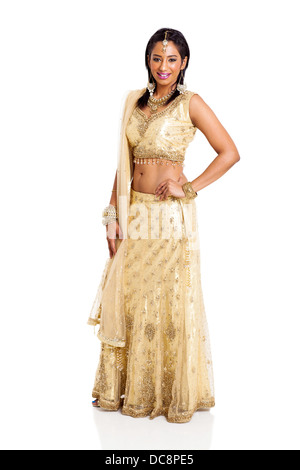 beautiful Hindu woman in traditional clothing on white background - Stock Photo