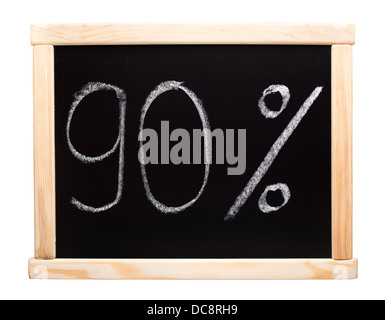 Ninety percent written on blackboard - Stock Photo