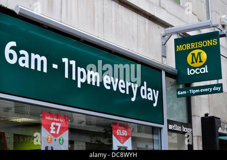 Morrisons supermarket sign in central London, UK - Stock Photo