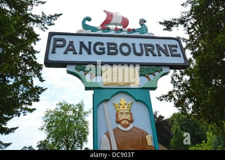 Pangbourne village sign, Pangbourne, Berkshire, England. United Kingdom - Stock Photo