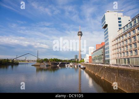 Europe, Germany, North Rhine Westphalia, Dusseldorf, Media Harbour,Rhine Tower and easterly media port - Stock Photo