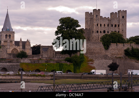 Rochester Castle and Cathedral In The Medway Town City Of Rochester Kent England UK - Stock Photo