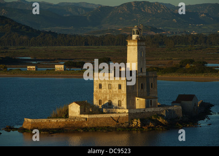 Approaching the prot of Olbia with the ferry boat. lighthouse of Olbia - Stock Photo