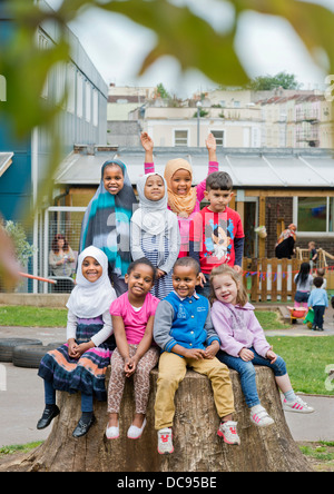 The St. Pauls Nursery School and Children's Centre, Bristol UK  - A culturally diverse group of children in the - Stock Photo
