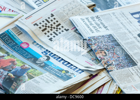 UK newspapers spread out - Stock Photo