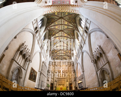 St Albans Cathedral in Hertfordshire, England - interior fisheye 1 - Stock Photo