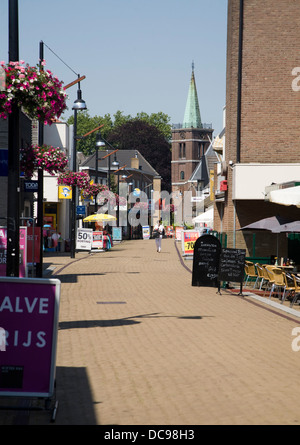 Almost deserted shopping street hot weather Sliedrecht Netherlands - Stock Photo