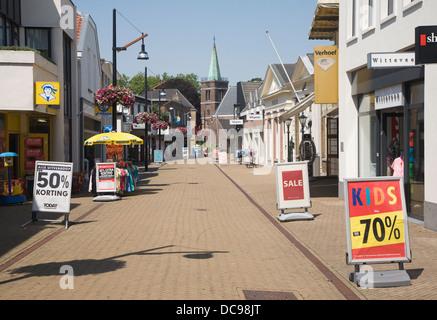 Almost deserted shopping street hot weather Sliedrecht Netherlands - Stock Photo