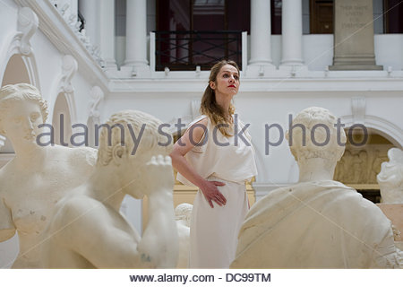 Edinburgh, Scotland, UK. 13th August 2013. Evi Stamatiou at the Neoclassical Sculpture Court at the Edinburgh College - Stock Photo