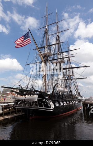View of the  the USS Constitution, moored at the Charlestown Navy Yard, Boston. - Stock Photo