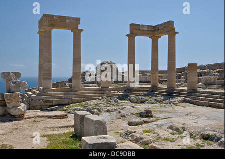 A part of the restorated remains of the doric portico (hellenistic era) of the temple of Athena Lindia, Acropolis - Stock Photo