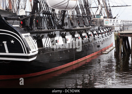 View of the stern section of the  the USS Constitution, moored at the Charlestown Navy Yard, Boston. - Stock Photo