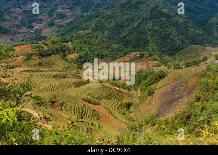 Terraced rice fields in Cat Cat Village in the Muong Hoa valley near Sapa, Vietnam, Asia. - Stock Photo