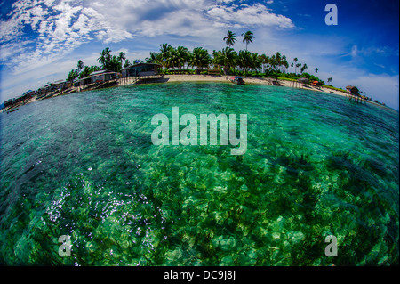 This picture taken during trip to Semporna, Sabah, Malaysia. Captured using Fisheye lens to get round effect. - Stock Photo