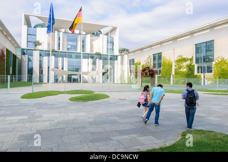 Asian tourists in front of the German Chancellery building - Berlin Germany - Stock Photo