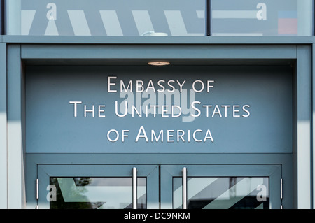 Entrance sign of the Embassy of the United States of America in Berlin, Germany - Stock Photo