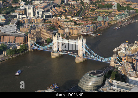 Tower Bridge and the river Thames looking down from the viewing platform of the Shard skyscraper, in London, UK - Stock Photo